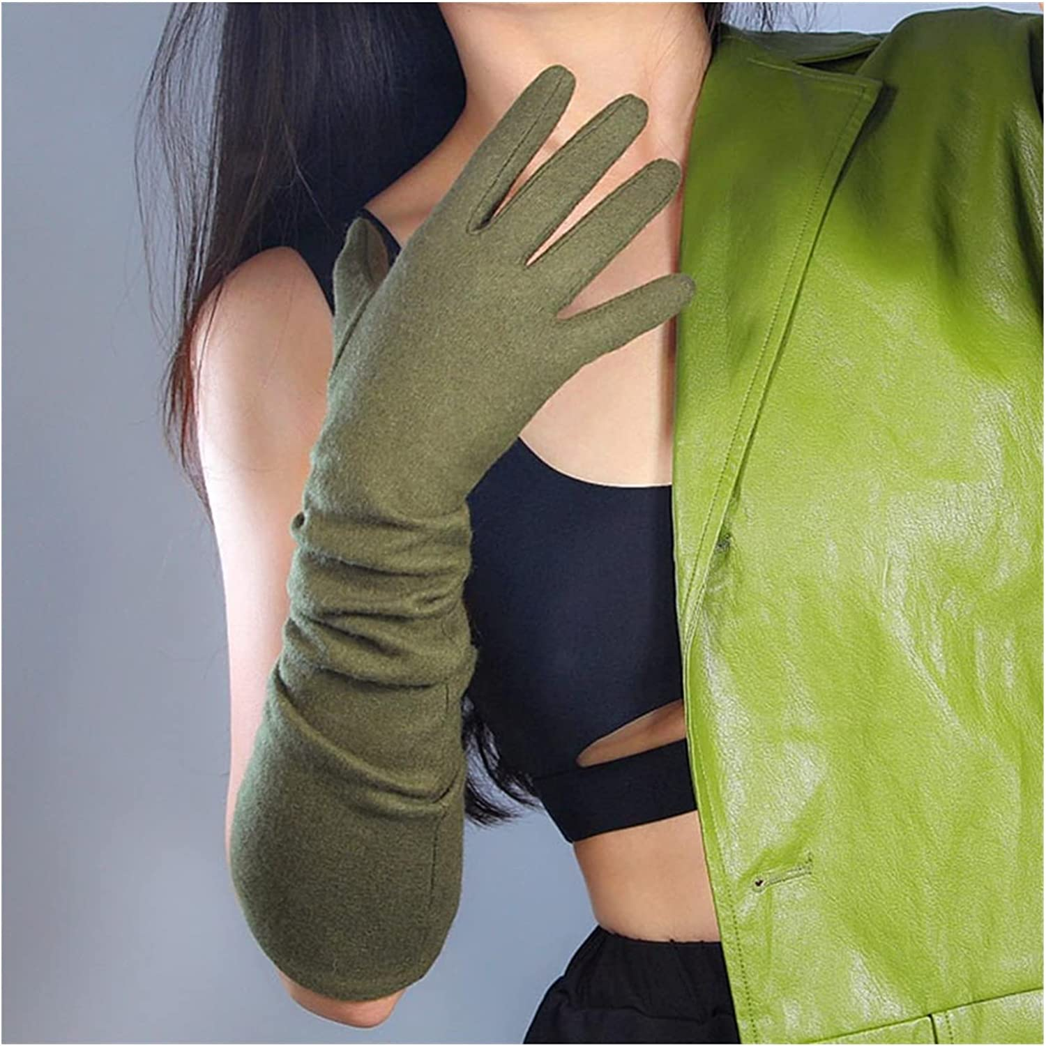 CHHNGPON Bridal Gloves Xmas Gifts Winter Warm Gloves Womens Wool Long Gloves Mittens Touchscreen Knit Gloves Arthritis Arm Warmers Gray Black (Color : Green)