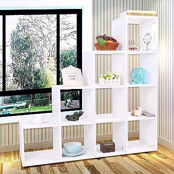 SOULONG Estantería escalera de almacenamiento de madera, estantería, mueble de almacenamiento con 10 compartimentos, 114 x 30 x 116 cm: Amazon.es: Hogar