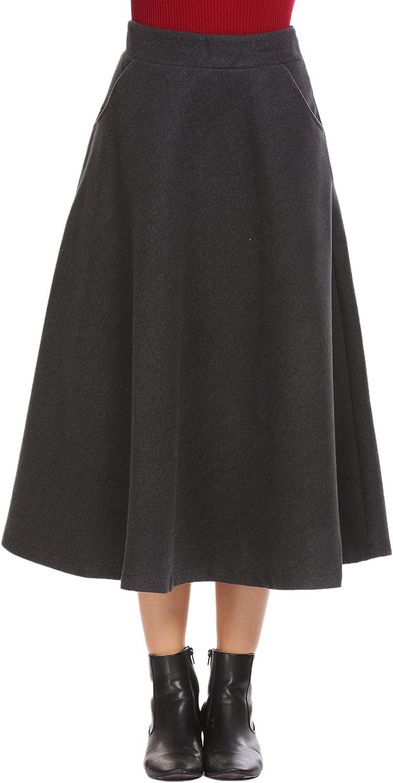 Shine Women's Wool Tartan Elastic High Waisted Plaid Maxi Skirts