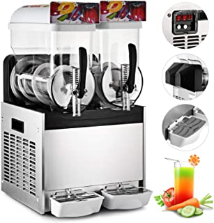 Happybuy 15L x 2 Tank Commercial Slushy Machine 110V 400W Stainless Steel Margarita Smoothie Frozen Drink Maker Suitable Perfect for Ice Juice Tea Coffee Making 15L x 2 Tank