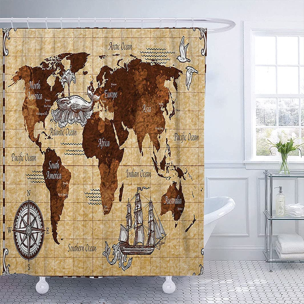 Map Shower Super special Super beauty product restock quality top! price Curtain with Hook Hand Drawn w Sketch Retro World