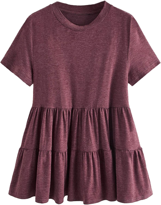 SOLY HUX Women's Plus Size Casual Short Sleeve Ruffle Hem Peplum Tee Top