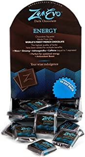 ZenEvo Dark Chocolate Energy - Dark Chocolate with Caffeine, Ginseng, Ashwagandha, and Maca - Provides Energy/Antioxidant Boost - 50 Ct