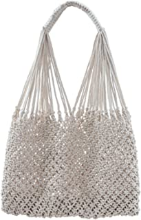 The Cecilia Tote by ALL NAHLO - Beach bag Original Color handbag made with 100% hand-woven cotton rope. Stylish and chic, matching any summer outfit