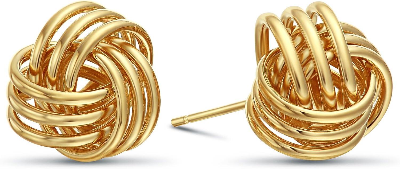 14k Gold Love Knot Stud Earrings, 11mm Diameter