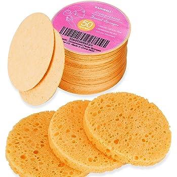 50 pz Spugne per Viso Compresse, Spugne per Viso in Cellulosa GAINWELL, Spugne Cosmetiche SPA 100% naturali per la Pulizia del viso, Maschera esfoliante, Rimozione trucco