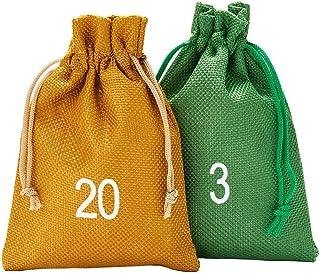 24 bolsitas para calendario de Adviento estilo yute, tamaño 15x10 cm, números impresos de 1 a 24, calendario de Adviento para rellenar, calendario navideño (dorado/verde)