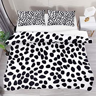 Bedding Set Black White Leopard Print Bed Duvet Cover Sheet Set 3 Piece Comforter Set with 2 Pillow Shams Not Pilling Fade Wrinkle-Resistant Extra Long Twin Size