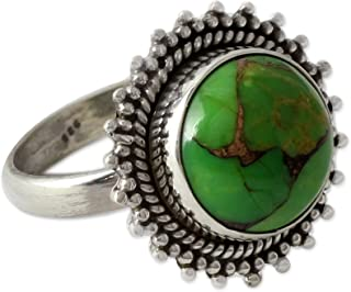 NOVICA Composite Green Turquoise .925 Sterling Silver Round Cocktail Ring, Verdant Promise'