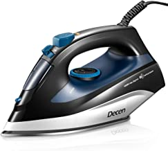 Decen Steam Iron for Clothes, 1400W Iron with Rapid Even Heat and Fast Burst Steam