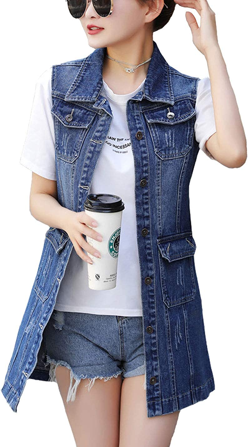 Mail order cheap Flygo Womens Casual Button Up Sleeveless Mid Long Ves Jean Store Denim