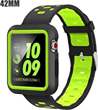 EloBeth Band with Case Compatible with Apple Watch Band 42mm Series 3 2 1 with Protector Bumper Sport Silicone iWatch 42mm Band (42mm Black/Green)