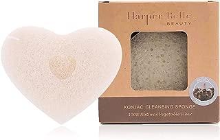 Harper Belle Beauty Organic Konjac Facial & Body Cleansing Heart Sponge | Natural & Gentle Exfoliant | Original for All Skin Types