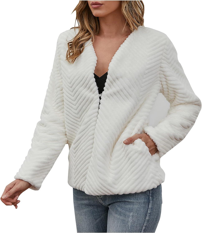 Rovga Women Winter Faux Fur Jacket Warm Thick Long Sleeve Outerwear Coat Loose Long Overcoat