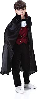 YOLSUN Boys' Vampire Deluxe Costume with Cape, Kids' Halloween Fearsome Dress up