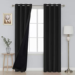 Deconovo Double Layer Curtain Drapes Grommet Top Linen Look Blackout Curtains with Black Blackout Lining 52x84 Inch Black 2 Panels