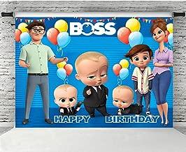 Photo Backdrop 5x7 Seamless Vinyl Photo Background Paper Boss Baby Theme Blue Backgrounds for Baby Shower Custom Boys Birthday Banner