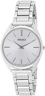 ساعة كوارتز نسائية من Seiko ، شاشة تناظرية وحزام من الفولاذ المقاوم للصدأ SWR031P1