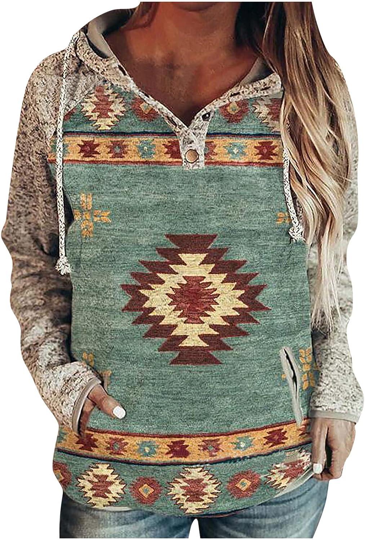 Womens Lightweight Hoodies Hooed Sweatshirt Casual Long Sleeve Vintage Printed Pullover Drawstring Button Pocket Tops