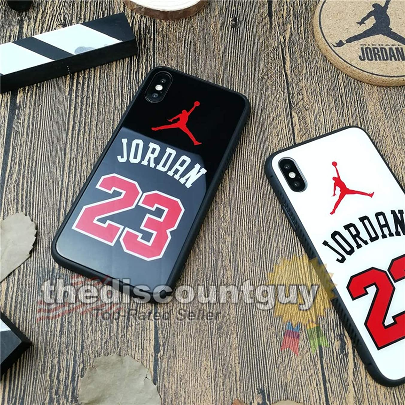 iPhone 8 Plus - Tempered Glass Jordan Phone Case Shiny Smooth Scratch Resistant Silicone Protective Shell Basketball Mirror Black Red White Glossy Cover (Black)