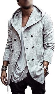 Men's casual outerwear, men's autumn jacket, solid colour, wool trench coat, men's clothing, long coat
