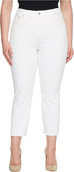 NYDJ Plus Size Plus Size Sheri Slim Ankle w/ Fray Hem in Optic White
