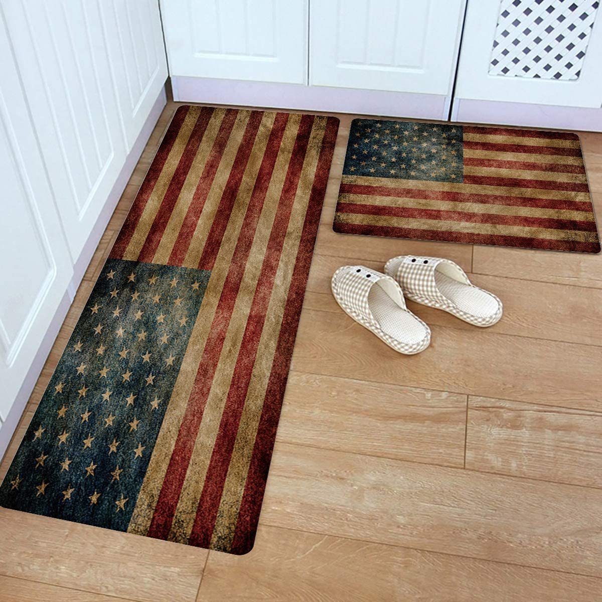 Kitchen Rug and Mats, Vintage American Flag Kitchen Floor Mats 9 Piece PVC  Leather Standing Mats Non Slip Rubber Back Washable Doormat Bathroom Area  ...