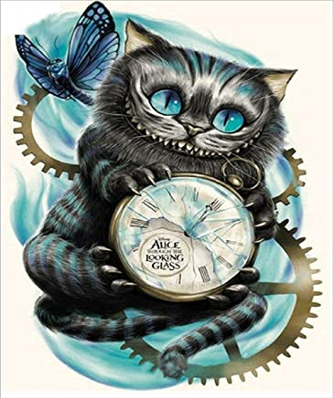 Diamond Painting by Number Kit, DIY 5D Crystal Rhinestone Cross Stitch Embroidery Arts Craft Picture Supplies for Home Wall Decor, Cat and Clock - 12x16 inches
