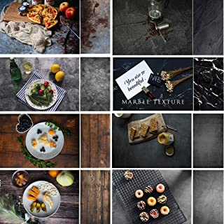 Evanto 22x35Inch Darkness Background Kit for Food Photogarphy and Video, Flat Lay Backdrops, Black Cement & Marble &Wood Texture