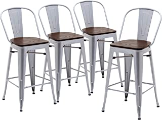 """Yongqiang 24"""" Bar Stools Set of 4 High Back Metal Counter Height Barstools with Wooden Seat Industrial Bar Chairs Silver"""
