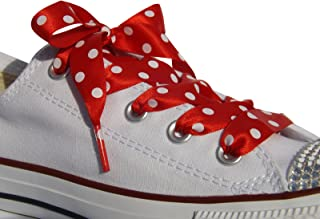 High Fashion Red Polka Dot Satin Ribbon Shoe Laces / Shoe Strings To Fit Converse Sneakers in Lo's & Hi Tops & Similar Kicks Pumps Trainers. From a Stylish UK Brand with Our Pimp My Shoes Logo on the Aglets (plastic tips). Available in All Sizes from Kids to Adults. Pimp My Shoes Shoe Laces are the Latest Fashion Trend in the UK for Customized Converse Sneakers and are Used by Many of the Top Customizers in the UK.