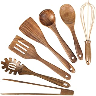 Wooden Kitchen Utensil Set, Wood Utensils Cooking Set Organic Teak Wood Spoons for Cooking,Spatulas Non-Stick for Cookware...