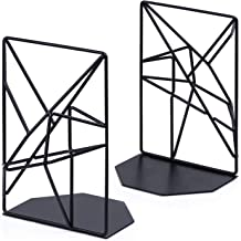 SRIWATANA Bookends Black, Decorative Metal Book Ends Supports for Shelves, Unique Geometric Design(1 Pair/2 Pieces)