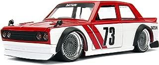 Jada Toys JDM Tuners 1973 Datsun 510 DIE-CAST Car, 1: 24 Scale Red/White #72 Designer Series