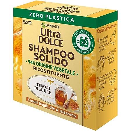 Garnier Shampoo Solido Ultra Dolce Tesori di Miele per Capelli Fragili che si Spezzano, Confezione 100% Ecologica senza Plastica - 60 g