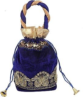 Kuber Industries Velvet 1 Pieces Women Potli Bag (Blue) -CTKTC5913