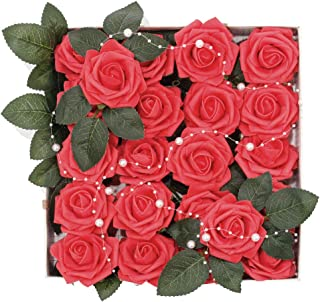 Meiliy 60pcs Artificial Flowers Red Roses Real Looking Foam Roses Bulk w/Stem for DIY Wedding Bouquets Corsages Centerpieces Arrangements Baby Shower Cake Flower Decorations