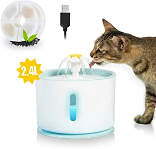 Udream Super Quiet Flower Automatic Electric Pet Water Fountain Dispenser with 1 Replacement Filters and 1 Pet Brush for Dogs, Cats, Birds and Multiple Pets,80 oz/2.4L Water Capacity