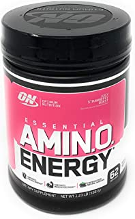 Optimum Nutrition Essential Amino Energy, Juicy Strawberry Burst, Preworkout and Postworkout Recovery with Essential Amino...
