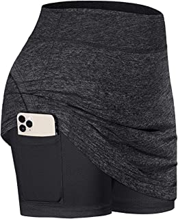 Cecobora Womens Summer Athletic Tennis Skirt Golf Inner Shorts Elastic Sports Running Golf Skort with Pockets