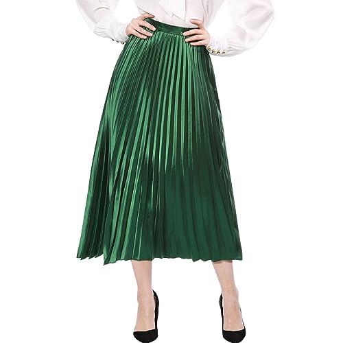 78f53d7d9d Allegra K Women's Zip Closure Accordion Pleated Metallic Midi Party Skirt