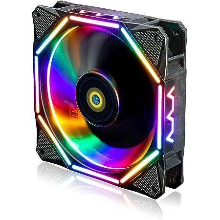 conisy 120mm Ventilateur de boîtier,Ultra Silencieux RGB LED Ordinateur de Bureau Ventilateurs de Refroidissement - Coloré (1 pièces)