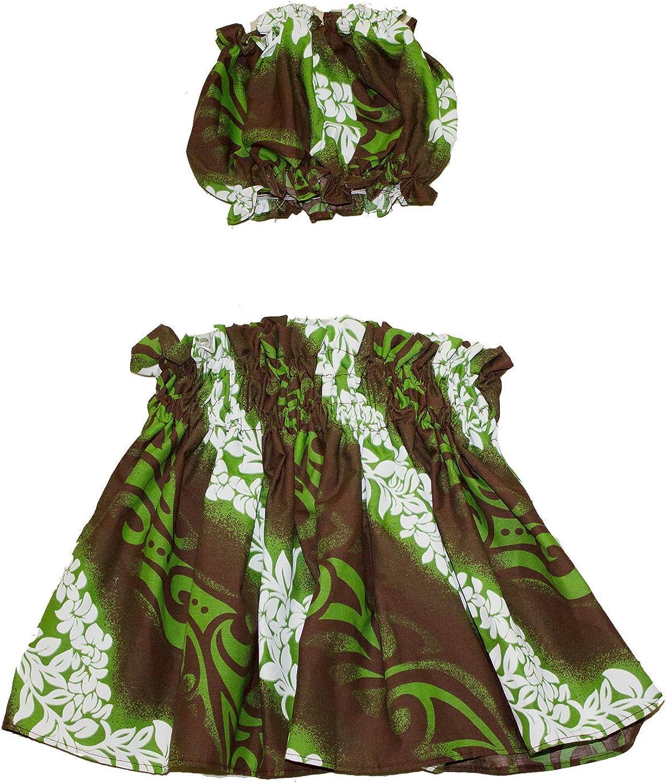 Hawaiian Style Plumeria Keiki Pau Hula Skirt Set Kids