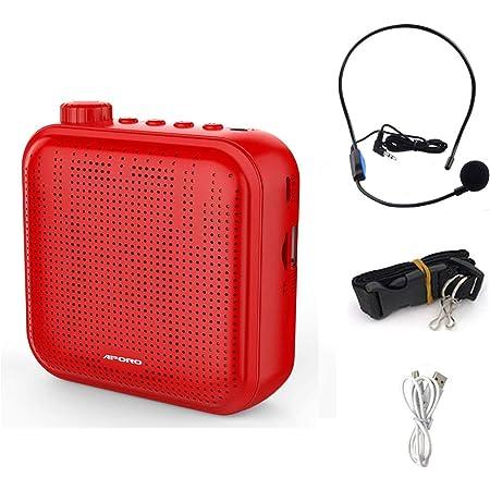 QINGTIAN Amplificador de Voz,Sistema de PA Recargable de 12 vatios (1200 mAh) con micrófono con Cable para Maestros,guía turístico y más