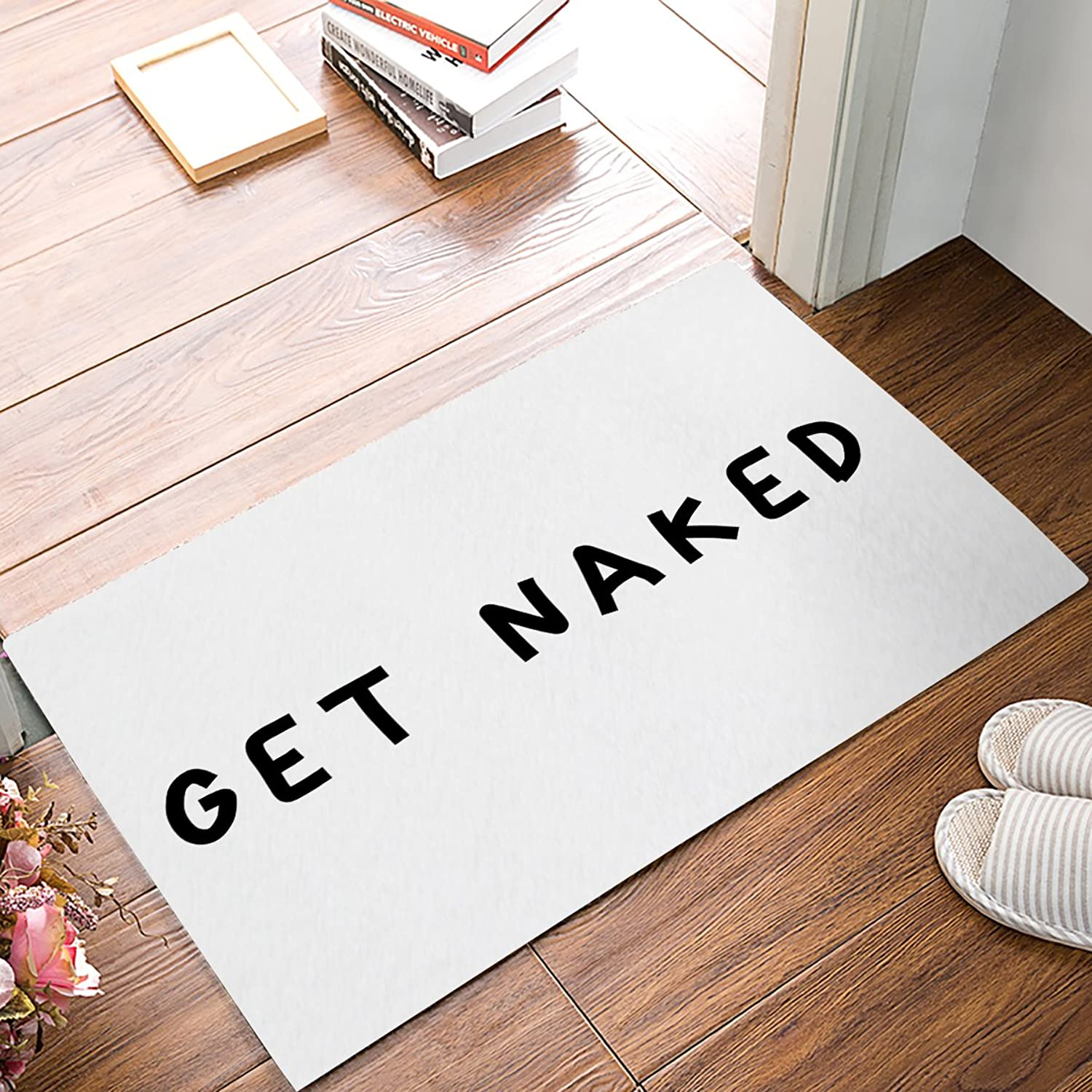 FunkyHome Get Naked Black Doormat 20x31.5inch Mats Non-Slip Rubber Indoor Entrance Rugs for Bathroom Front