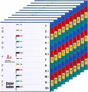 10 Pièces Feuillets Intercalaires 12 Positions, Intercalaires A4 1-12, 12 Onglets avec Table des Matières - couleurs assor...
