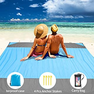 """Sand Free Beach Mats Waterproof Blanket 79"""" x 79"""" (6.6ft x 6.6ft) - Quick Drying Nylon Material Compact Outdoor Picnic Beach Mat Ideal for Traveling, Hiking and Camping Comes with 4 Anchor Stakes"""