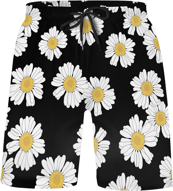 White Daisy Flowers Chamomile Floral On Black Boys 4-Way Stretch Board Shorts Swim T