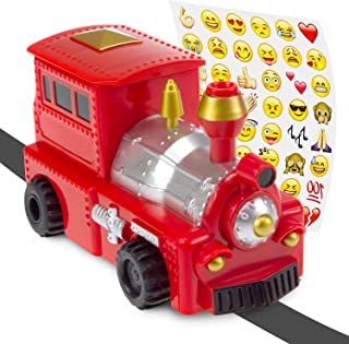 Magic Inductive Train Set - Magic Toy Truck Follows Drawn Black Line - Mini Toy Car with Funny Stickers for Kids