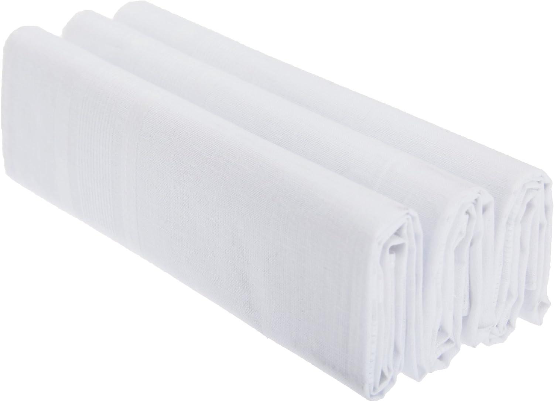 Mens Plain 100% Cotton Handkerchiefs (Pack Of 3)
